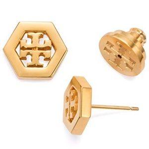 NWT TORY BURCH HEX-LOGO GOLD STUD EARRINGS!